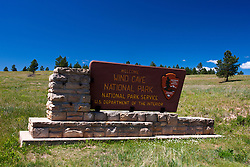 National Park Service welcome sign, Wind Cave National Park, South Dakota, United States of America