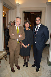 Left to right, STEPHEN & FLO BAYLEY and DREW BAKER winner of Masterchef 2010 at a reception in honour of Anna del Conte held at The Italian Emabssy, Grosvenor Square, London on 9th November 2015.