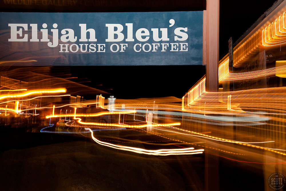 """""""Elijah Bleu's House of Coffee 1"""" This photo of Elijah Bleu's in Downtown Truckee, CA was achieved by moving the camera lens during a long exposure."""