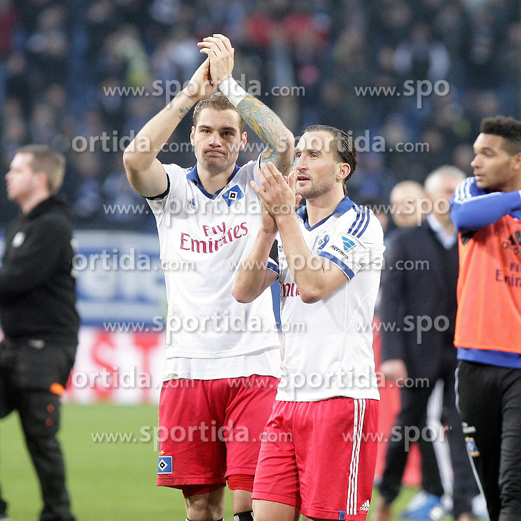22.02.2014, Imtech Arena, Hamburg, GER, 1. FBL, Hamburger SV vs Borussia Dortmund, 22. Runde, im Bild Pierre-Michel Lasogga, Petr Jiracek (HSV) // during the German Bundesliga 22th round match between Hamburger SV and Borussia Dortmund at the Imtech Arena in Hamburg, Germany on 2014/02/23. EXPA Pictures &copy; 2014, PhotoCredit: EXPA/ Eibner-Pressefoto/ Latendorf<br /> <br /> *****ATTENTION - OUT of GER*****