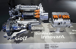 Detail of Volkswagen electric motor used in e-Golf Touch at Paris Motor Show 2016