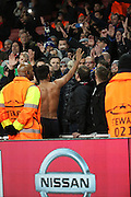 Dinamo Zagreb's El Arabi Hilal Soudani saying thank you to the travelling fans during the Champions League match between Arsenal and Dinamo Zagreb at the Emirates Stadium, London, England on 24 November 2015. Photo by Matthew Redman.