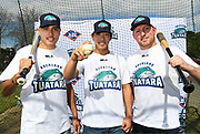 Correze Nepia, Yuuki Takahashi and Andrew Marck pose for a photo as the new Auckland Tuatara baseball team is announced to play in the Australian Baseball League at the Centre for Conservaion Medicine at Auckland Zoo. 27 August 2018. Copyright Image: Andrew Cornaga / www.photosport.nz