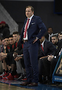 Nov 15, 2019; Los Angeles, CA, USA; UNLV Rebels head coach T.J. Otzelberger reacts in the first half against the UCLA Bruins at Pauley Pavilion. UCLA defeated UNLV 71-54.
