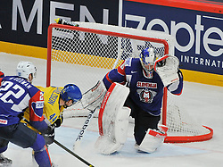 11.05.2013, Globe Arena, Stockholm, SWE, IIHF, Eishockey WM, Schweden vs Slowenien, im Bild Slovenia (Slovenien) Slovenia (Slovenien) Slovenia (Slovenien)Slovenia (Slovenien) 40 Luka Gracnar // during the IIHF Icehockey World Championship Game between Sweden and Slovenia at the Ericsson Globe, Stockholm, Sweden on 2013/05/11. EXPA Pictures © 2013, PhotoCredit: EXPA/ PicAgency Skycam/ Simone Syversson..***** ATTENTION - OUT OF SWE *****