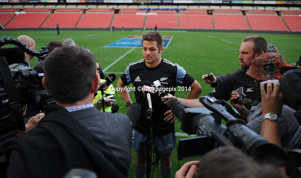 Richie McCaw of New Zealand during the New Zealand Training Session on the 02 October 2014 at Wits University Pic Sydney Mahlangu/BackpagePix