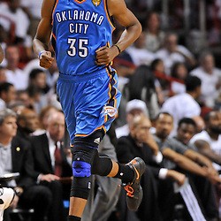 Jun 17, 2012; Miam, FL, USA; Oklahoma City Thunder small forward Kevin Durant (35) against the Miami Heat during the third quarter in game three in the 2012 NBA Finals at the American Airlines Arena. Mandatory Credit: Derick E. Hingle-US PRESSWIRE