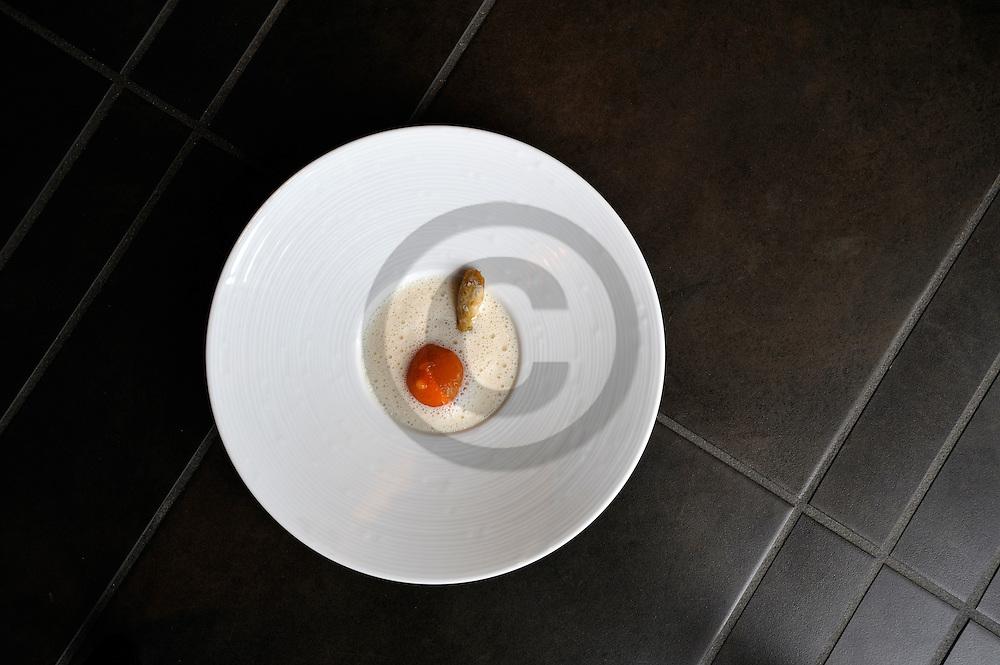 18/04/08 - PONT D ALLEYRAS - HAUTE LOIRE - FRANCE - Etablissement Le Haut Allier, une etoile au Michelin. Veloute de clams et sphere a la tomate. Recette preparee par Philippe BRUN - Photo Jerome CHABANNE