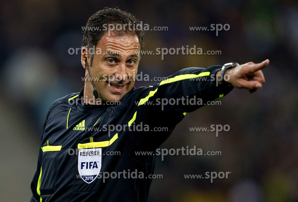 Referee Olegario Benquerenca (POR) during the  2010 FIFA World Cup South Africa Quarter Finals football match between Uruguay and Ghana on July 02, 2010 at Soccer City Stadium in Sowetto, suburb of Johannesburg. Uruguay defeated Ghana after penalty shots. (Photo by Vid Ponikvar / Sportida)