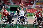 Joy Haizelden for Great Britain vs Canada in the Group A Preliminary Womens Wheelchair basketball at the Rio Olympic Arena.  Rio 2016 Paralympic Games. Thursday 8th September 2016