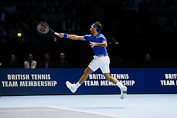 November 15, 2018 - London, United Kingdom - Roger Federer of Switzerland is pictured in action during his match against Kevin Anderson of South Africa on Day Five of the Nitto Atp World Tour FInals on November 15, 2018 in London, England. (Credit Image: © Alberto Pezzali/NurPhoto via ZUMA Press)