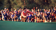 JOSE MARIA OLAZABAL SINKS CHIP AT 13th hole 2nd day RYDER CUP 1993<br /> <br /> Picture: Debbie Newcombe
