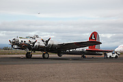 Boeing B-17 Flying Fortress, Madras Maiden being pushed out of hangar.