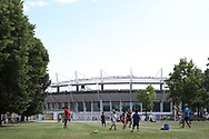 People play football in a park outside the stadium before the Torino FC match versus Param Calcio behind closed doors during the Serie A match at Stadio Grande Torino, Turin. Picture date: 20th June 2020. Picture credit should read: Jonathan Moscrop/Sportimage