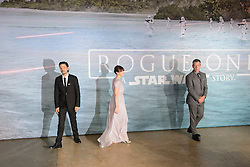Riz Ahmed, Felicity Jones and Ben Mendelssohn attending the Rogue One: A Star Wars Story Premiere, at the Tate Modern, London. Picture date: Tuesday December 13th, 2016. Photo credit should read: Matt Crossick/ EMPICS Entertainment.