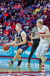 NORMAL, IL - November 03:  Jack Jelen works the outside against Isaac Gassman during a college basketball game between the ISU Redbirds  and the Augustana Vikings on November 03 2018 at Redbird Arena in Normal, IL. (Photo by Alan Look)