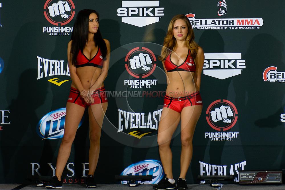 "LONG BEACH, CALIFORNIA, NOVEMBER 1, 2013: Mercedes Terrell and Jade Bryce during the official weigh-in for ""Bellator MMA: Chandler vs. Alvarez II"" inside the Long Beach Convention Center & Arena, California,  (© Martin McNeil)"