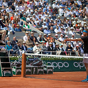 PARIS, FRANCE June 06.  Alexander Zverev of Germany contests a line call during his match against Novak Djokovic of Serbia on Court Philippe-Chatrier during the Men's Singles Quarter Final match at the 2019 French Open Tennis Tournament at Roland Garros on June 6th 2019 in Paris, France. (Photo by Tim Clayton/Corbis via Getty Images)