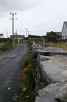 Quiet road on Inis Oirr the Aran Islands Galway Ireland