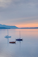 Sailboats anchored in Bellingham Bay, Lummi Island is in the distance, Bellingham Washington USA