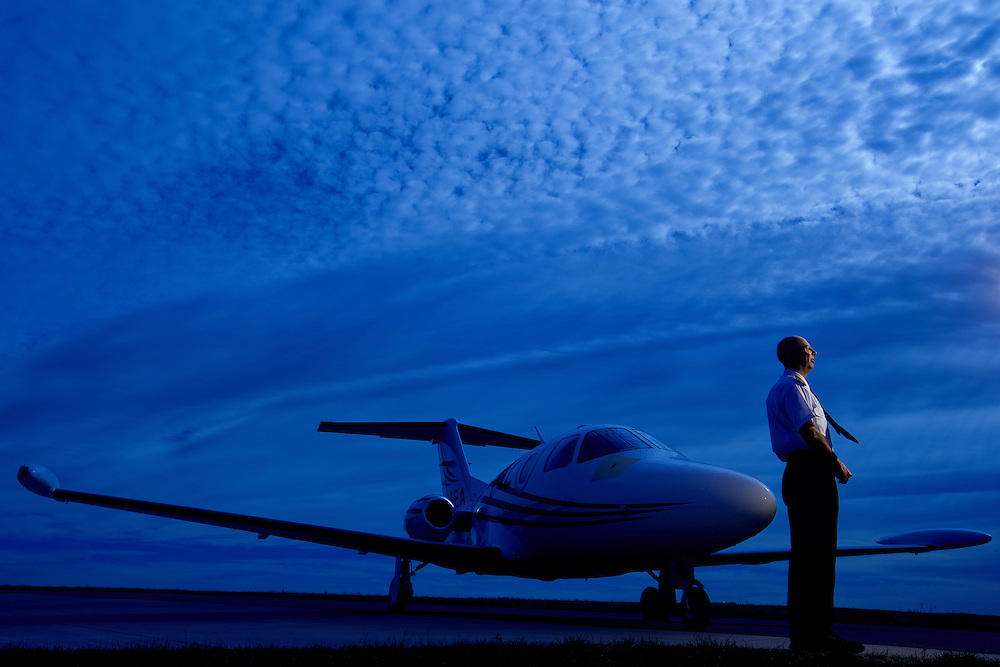Matthew Haynes, Pilot and Managing Partner of Eclipse Private Jet runs a charter service out of Colorado Springs Airport using a small fleet of Eclipse 500 jets. Haynes poses at the airport in Colorado Springs, Thursday, Nov. 8, 2012.