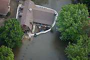 Aerial view of 2008 Iowa flood along the Mississippi River.