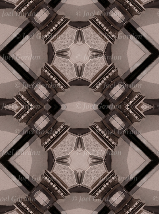 Computer enhanced abstract of  shapes and patterns columns of building. <br />