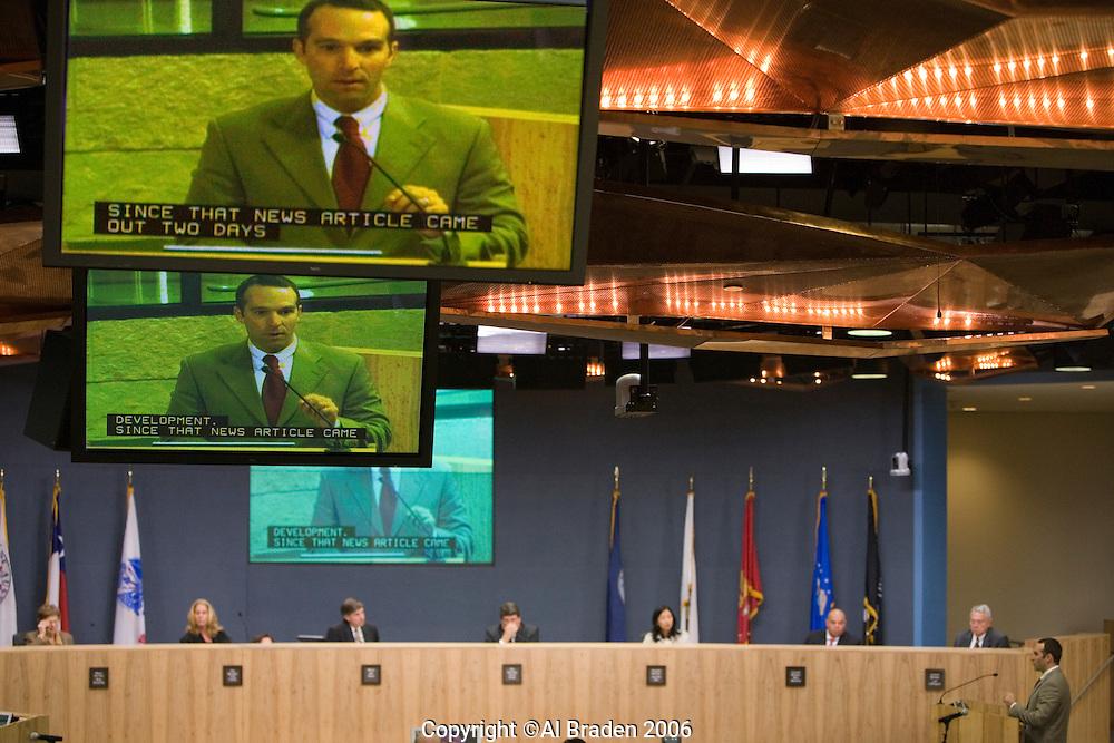Citizen input during Austin City Council Meeting.
