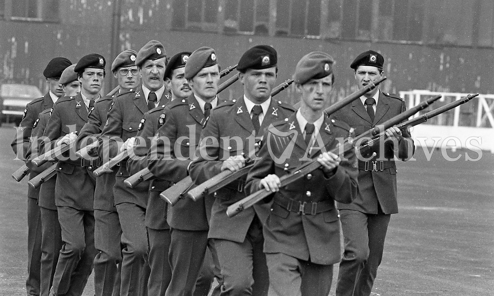 Members of the FCA 21st Batt practice Rifle Drill at Gormanston Camp, Meath, 05/08/1982 (Part of the Independent Newspapers Ireland/NLI Collection).