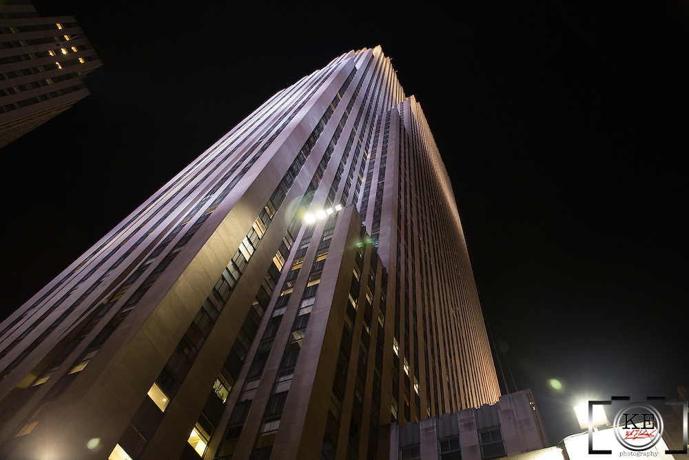 The Rockefeller Center at night, taken from right at the base.  Looks bloody imposing!