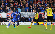 Luke Murphy of Burton Albion and Aron Gunnarsson of Cardiff City during the Sky Bet Championship match at the Pirelli Stadium, Burton upon Trent<br /> Picture by Mike Griffiths/Focus Images Ltd +44 7766 223933<br /> 05/08/2017