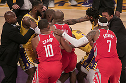 October 20, 2018 - Los Angeles, California, U.S - Ramon Rondo #9 of the Los Angeles Lakers scuffles with Chris Paul #3 of the Houston Rockets during their NBA game on Saturday October 20, 2018 at the Staples Center in Los Angeles, California. Rondo and Paul were ejected. (Credit Image: © Prensa Internacional via ZUMA Wire)