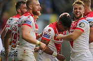 Ben Barba (C) of St Helens celebrates scoring the try against Warrington Wolves during the Betfred Super League Super 8s match at the Halliwell Jones Stadium, Warrington<br /> Picture by Stephen Gaunt/Focus Images Ltd +447904 833202<br /> 22/09/2018