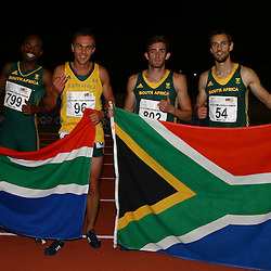 Durban, SOUTH AFRICA, 26,June, 2016 - Team South Africa in the Men 4 x 400m Finalduring Day 5 The 20th CAA African Senior Athletics Championships will take place at the Kings Park Athletics Stadium in Durban, South Africa from June 22-26, 2016. (Photo by Steve Haag)