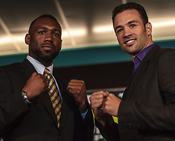CARSON - MAY 31: WBA super welterwight titlist Austin 'No Doubt' Trout (L) and Boxer Devin Rodriguez (R) at Home Depot Center Press Conference. All fees must be ageed prior to publication,.Byline and/or web usage link must read PHOTO Eduardo E. Silva/SILVEX.PHOTOSHELTER.COM Failure to byline correctly will incur double the agreed fee.