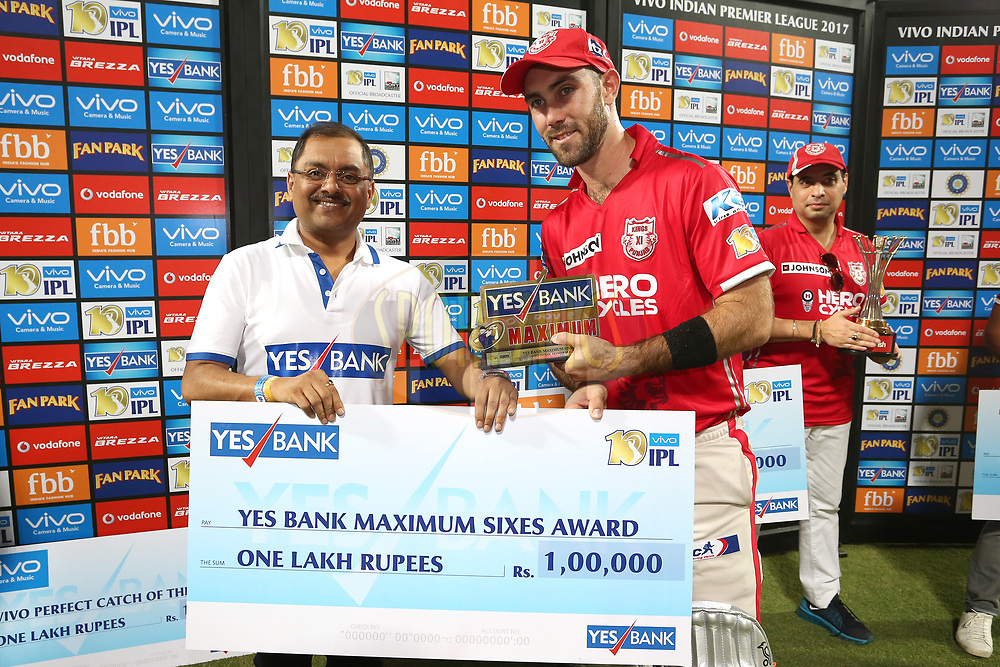 Kings XI Punjab captain Glenn Maxwell receives the Yes Bank Maximum Sixes Award during match 4 of the Vivo 2017 Indian Premier League between the Kings XI Punjab and the Rising Pune Supergiant held at the Holkar Cricket Stadium in Indore, India on the 8th April 2017<br /> <br /> Photo by Shaun Roy - IPL - Sportzpics