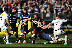 Max Lahiff of Bath Rugby tries to get away from a tackle - Mandatory byline: Robbie Stephenson/JMP - 07966386802 - 31/10/2015 - RUGBY - Recreation Ground -Bath,England - Bath Rugby v Harlequins - Aviva Premiership