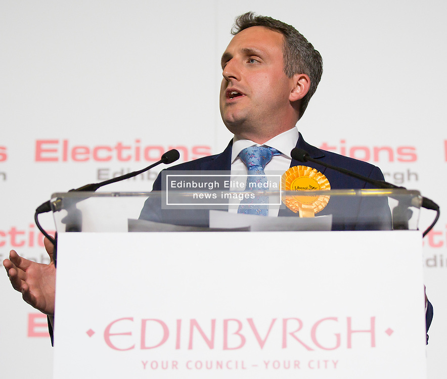 Scottish Parliament Election 2016 Royal Highland Centre Ingliston Edinburgh 05 May 2016; Alex Cole-Hamilton (Scottish Liberal Democrats) makes his acceptance speech after winning Edinburgh Western during the Scottish Parliament Election 2016, Royal Highland Centre, Ingliston Edinburgh.<br /> <br /> (c) Chris McCluskie | Edinburgh Elite media