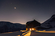 Tourist hut in Balkan Mountains at winter night