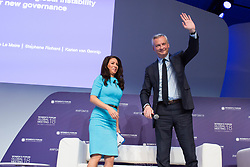 French Finance and Economy Minister Bruno Le Maire speaks during the opening session of the Women's Forum Global Meeting in Paris on November 15, 2018. Photo by Raphaël Lafargue/ABACAPRESS.COM