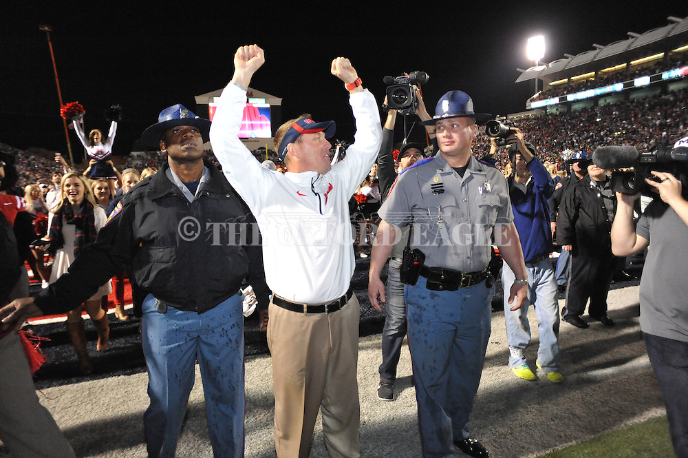 Ole Miss Rebels head coach Hugh Freeze vs. Mississippi State at Vaught-Hemingway Stadium in Oxford, Miss. on Saturday, November 29, 2014. Ole Miss won 31-17.