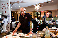 "15 December, 2008. New York, NY. Ed Witt at Bloomingdale Road is ""on stage"" for a small birthday party of five people in the open kitchen of Bloomingdale Road's dining room, a New York restaurant. Several restaurants offer special seatings with their celebrity chefs.<br /> <br /> ©2008 Gianni Cipriano for The New York Times<br /> cell. +1 646 465 2168 (USA)<br /> cell. +1 328 567 7923 (Italy)<br /> gianni@giannicipriano.com<br /> www.giannicipriano.com"