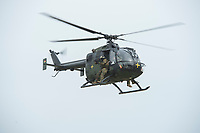 """03 APR 2012, LEHNIN/GERMANY:<br /> Scharfschuetzen feuern von einem Hubschrauber BO 105 Kampfschwimmer der Bundeswehr trainieren """"an Land"""" infanteristische Kampf, hier Haeuserkampf- und Geiselbefreiungsszenarien auf einem Truppenuebungsplatz<br /> IMAGE: 20120403-01-132<br /> KEYWORDS: Marine, Bundesmarine, Soldat, Soldaten, Armee, Streitkraefte, Spezialkraefte, Spezialkräfte, Kommandoeinsatz, Übung, Uebung, Training, Spezialisierten Einsatzkraeften Marine, Waffentaucher"""