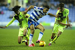 Nick Blackman of Reading under pressure from Emyr Huws of Huddersfield Town and Philip Billing of Huddersfield Town - Mandatory byline: Jason Brown/JMP - 07966 386802 - 03/11/2015- FOOTBALL - Madejski Stadium - Reading, England - Reading v Huddersfield Town - Sky Bet Championship