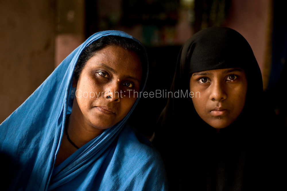 Muslim women at home in Nagore. South India.