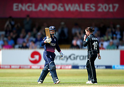 Tammy Beaumont of England Women celebrates reaching 50 against New Zealand Women - Mandatory by-line: Robbie Stephenson/JMP - 12/07/2017 - CRICKET - The County Ground Derby - Derby, United Kingdom - England v New Zealand - ICC Women's World Cup match 21