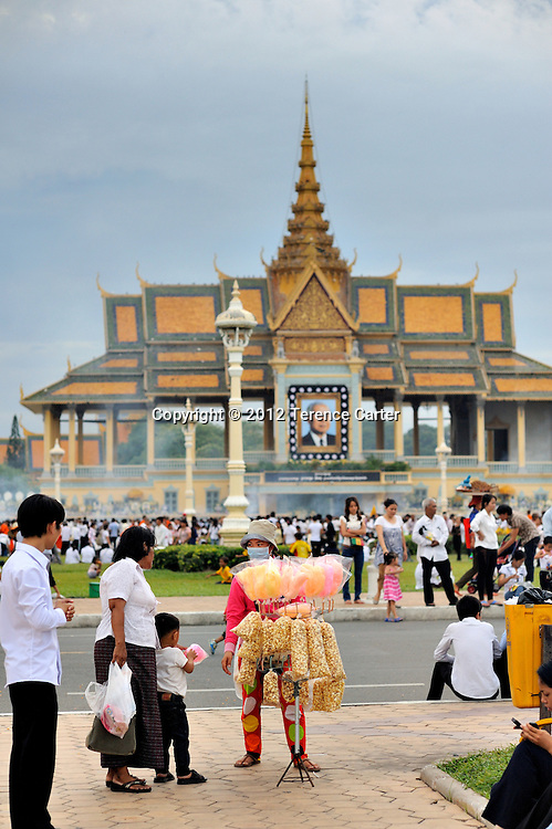 King Father Norodom Sihanouk's body is on display in Phnom Penh.
