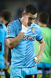 April 19, 2018 - Brugge, BELGIUM - Charleroi's Stergos Marinos looks dejected after the Jupiler Pro League match between Club Brugge and Sporting Charleroi, in Brugge, Thursday 19 April 2018, on day four of the Play-Off 1 of the Belgian soccer championship. BELGA PHOTO VIRGINIE LEFOUR (Credit Image: © Virginie Lefour/Belga via ZUMA Press)