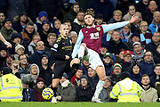 Manchester City defender Angelino (12) and Burnley midfielder Jeff Hendrick (13) during the Premier League match between Burnley and Manchester City at Turf Moor, Burnley, England on 3 December 2019.