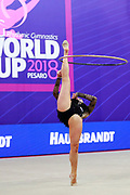 Halkina Kastiaryna during final at hoop in World Cup Pesaro, Adriatic Arena on April 15,2018. Katsiaryna is a Belarusian rhythmic gymnastics athlete born February 25,1997 in Minks, Belarus.
